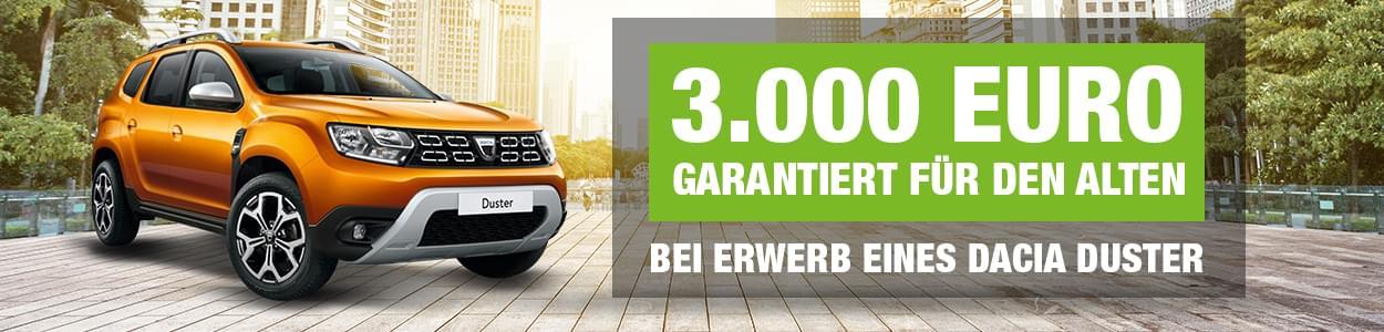 3.000 Euro für den Alten bei Erwerb eines Dacia Duster