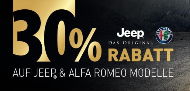 30% Rabatt auf Jeep- und Alfa Romeo-Modelle