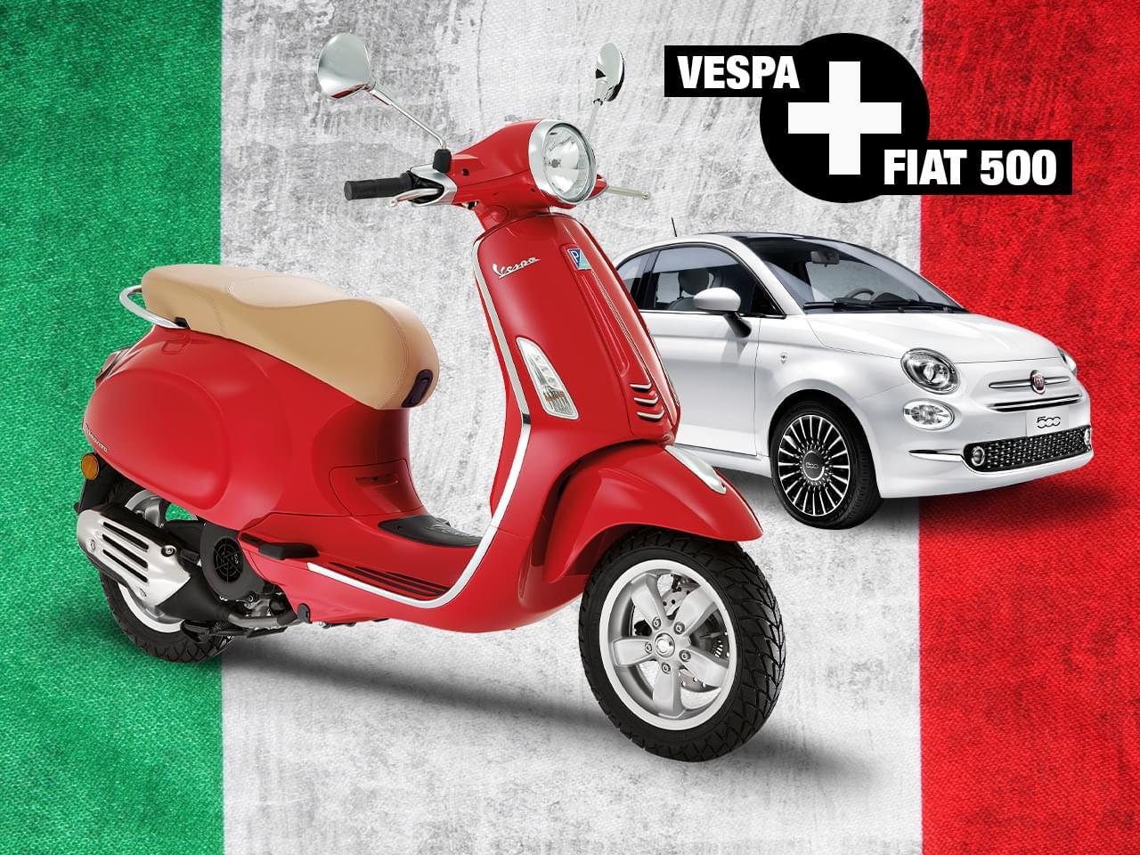 Vespa 50cc + Fiat 500 Lounge 1.2 8V 4T 3V i-get